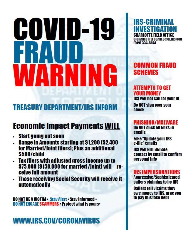 IRS COVID 19 SCAM flyer